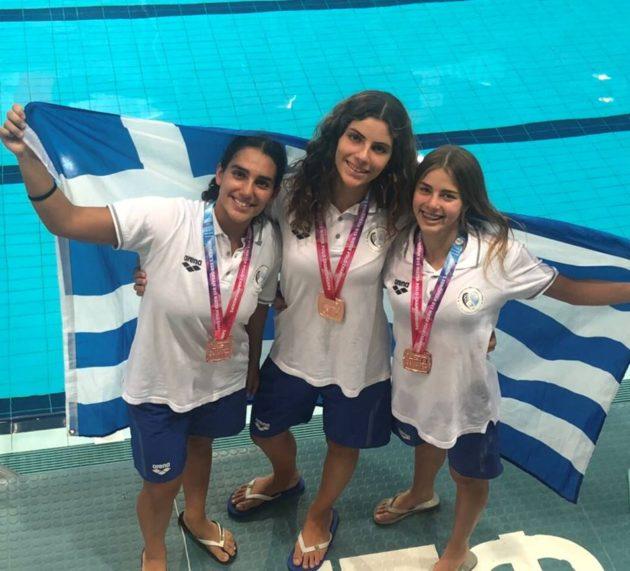 Χάλκινο μετάλλιο στην Εθνική ομάδα υδατοσφαίρισης κορασίδων με 3 αθλήτριες του Ν.Ο.Β.